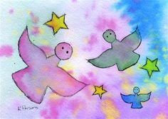 """Angels and Stars"" - Original Fine Art for Sale - Watercolor and Ink - © Kali Parsons - http://kaliparsons.blogspot.com"