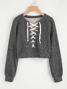 Shop Grommet Lace Up Marled Knit Crop Sweatshirt online. SheIn offers Grommet Lace Up Marled Knit Crop Sweatshirt & more to fit your fashionable needs. Komplette Outfits, Teen Fashion Outfits, Trendy Outfits, Summer Outfits, Womens Fashion, Kleidung Design, Cut Up Shirts, Matching Couple Shirts, Laced Up Shirt