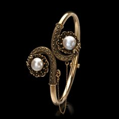 ANTIQUE BY-PASS PEARL SHELL BANGLE BRACELET
