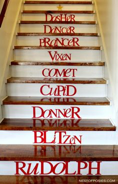 Reindeer Holiday Stairs : quick apply and removable letters after the holidays; easy holiday decorating.