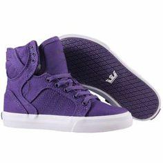 Nouvelle collection printemps-été 2014  Baskets Supra Enfant - Kids Skytop Shoes Purple-White