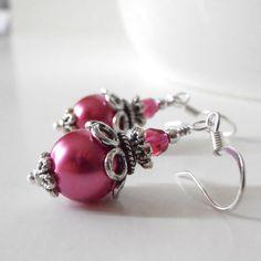 Pink Earrings Vintage Inspired Bead Earrings