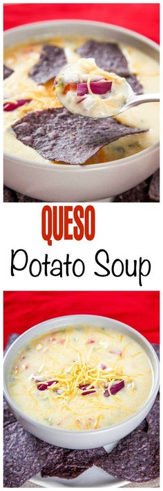 Cheesy Potato Soup Recipe aka Queso Soup: Creamy, cheesy potato soup with a spicy kick. Ever wanted to eat Queso with a spoon, now you can!