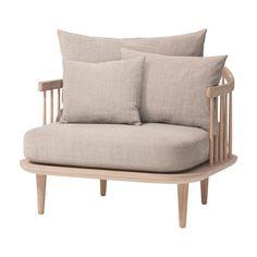 AndTradition - FLY Chair SC1 Sessel - beige/Stoff Hot Madison 094/Gestell weiße geölte Eiche/inklusive Kissen