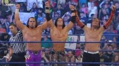 i never thought i'd live to see the day when they were on the same side cause MNM and the Hardyz had a feud goin on but here are The Hardyz with John Morrison
