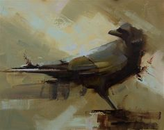 """Daily Paintworks - """"Raven 3"""" - Original Fine Art for Sale - © Thorgrimur Andri Einarsson Media: Oil on linen Size: 8x10 in"""