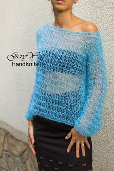 Hand knitted mohair oversized womens sweater hand made boho style turquoise blue READY TO SHIP Knitting Patterns Free, Hand Knitting, Free Pattern, Loose Knit Sweaters, Boho Style, Boho Fashion, Crochet Top, Sweaters For Women, Retriever Puppy