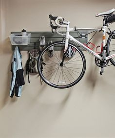 Flow Wall Silver/Clear Flow Anywhere Horizontal Bike Starter Set for mounting bikes on the wall behind the beds Garage Wall Storage, Wall Storage Systems, Garage Storage Solutions, Storage Sets, Storage Organization, Closet Storage, Organizing, Monkey Bar Storage, Indoor Bike Rack