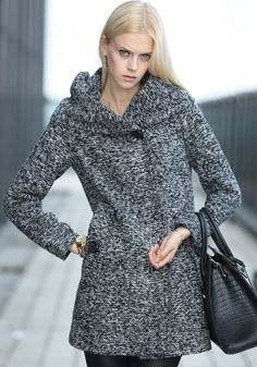 Grey Plain Buttons Pockets Long Sleeve Wool Coat
