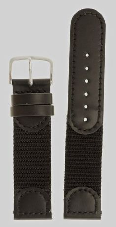 Mens Swiss Army Style Watchband - Color Black Size: 19mm Watch Band - by JP Leatherworks