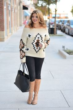 aztec off shoulder sweater outfit - off shoulder sweater with skinny jeans and tan boots | www.bylaurenm.com