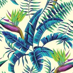 tropical exotic painting seamless background Pixerstick Wall Mural ✓ Easy Installation ✓ 365 Day Money Back Guarantee ✓ Browse other patterns from this collection!