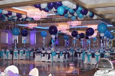 Purple & Turquoise Bat Mitzvah with Alternating Solid Balloon Centerpieces at Royal Manor, Garfield NJ