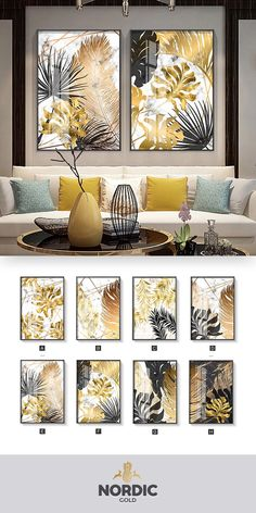 Nordic Tropical Gold Leaves Abstract Wall Art Posters Fine Art Canvas Prints For Modern Office Or Apartment Pictures For Living Room Decor - Tablolar Living Room Pictures, Wall Art Pictures, Office Pictures, Kunst Poster, Decorating With Pictures, Canvas Art Prints, Canvas Paintings, Modern Art Paintings, Canvas Wall Art