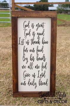 God is Great God is Good Let us thank him for our Food Meal Prayer Christian Decor Sign Farmhouse Style Rustic Decor Wood Framed Bible Verse – Dining Room Ideas – Farmhouse Dining Room Country Farmhouse Decor, Rustic Decor, Farmhouse Style, Farmhouse Kitchen Signs, Farmhouse Design, Country Kitchen, Food Prayer, Meal Prayer, Daily Bread Prayer