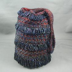 Vintage 1920s to 1930s Hand Made Beaded Red and Blue Knit Purse
