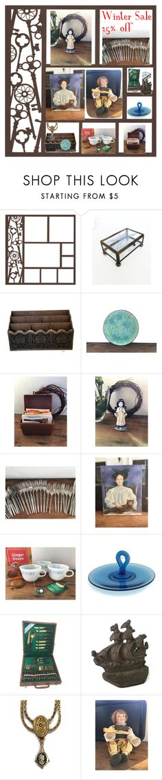 """Winter Sale Vintage Home Goods @ weelambievintage.etsy.com"" by weelambievintage on Polyvore featuring interior, interiors, interior design, home, home decor, interior decorating, Pyrex, Hostess, Goldette and kitchen"