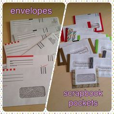 Second project is complete: old window envelopes turned into scrapbook pockets (using washi tape). Envelope Scrapbook, Envelope Book, Journal Paper, Book Journal, Journal Ideas, Journal Covers, Scrapbook Paper Crafts, Scrapbook Pages, Paper Crafting