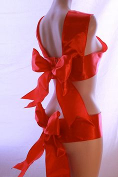 Red Ribbon Sexy Gift burlesque Boudoir lingerie by LingerieBomb, $80.00