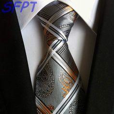 SCST Brand New Corbatas Paisley Print Gravata Slim Necktie Mens Wedding Neckties Silk Ties For Men Tie Gold Cravate Brown Tie, Grey Tie, Paisley Tie, Paisley Print, Slim Tie, Tie Styles, Wedding Ties, Suit And Tie, Suit Fashion