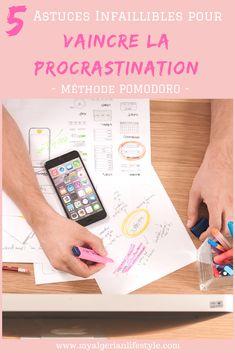 Vaincre la procrastination - toujours reporter à plus tard ce qui doit être fait maintenant - et augmenter sa productivité grâce à 5 méthodes infaillibles. #procrastination #vaincre #stop #astuce #methode #pomodoro #productivite #planner #todolist #forest