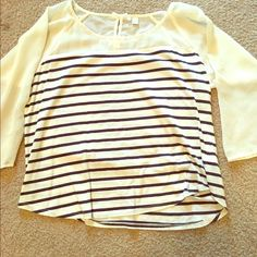 Lauren Conrad Casual Blouse Beautiful stripped blouse. The middle (navy/cream striped area) is cotton and the sleeves are a cream shear color. Has super cute bow details on the back as shown! Size L LC Lauren Conrad Tops Blouses