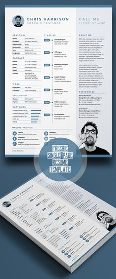 resume cv template graphics blackandwhite bw icons icongraphic - single page resume template