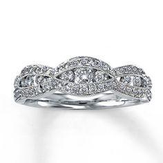 14K White Gold ½ Carat t.w. Diamond Anniversary Ring