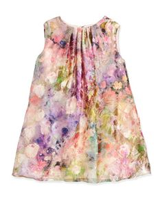 Sleeveless Floral Watercolor Shift Dress, Pink, Size 4-6