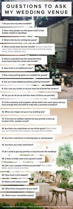 Wedding Checklist 23 questions to ask my wedding venue by Allyson VinZant Events. Wedding Planning Tips For Grooms Wedding Planning Tips, Wedding Tips, Wedding Venues, Wedding Ceremony, Diy Wedding, Wedding Coordinator, Bridal Tips, Budget Wedding, Planning Board