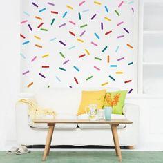 Vinyl Wall Sticker Decal Art Confetti Sprinkle by urbanwalls Polka Dot Walls, Polka Dot Wall Decals, Flower Wall Decals, Wall Letter Decals, Vinyl Wall Stickers, Kids Wall Decals, Textures Murales, Confetti Wall, Star Wall