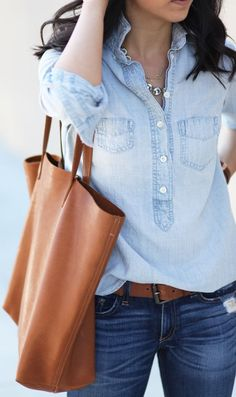 A carry-it-all leather tote is a must-have for every woman! Throw in everything you think you'll need, and sport it to the stores, while traveling and to work! No need to worry about annoying straps or zippers - this style is one of the best! Where would you carry your tote?