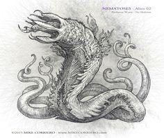 Nematoses-Alien-02 worms by MIKECORRIERO on DeviantArt