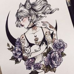 This illustration of a tattooed girl surrounded by mythical beliefs is stunning and is just beautiful so yeah don't know what you want me to write for this.