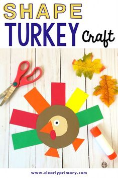 Shape turkey craft (template included)Shape turkey craft for preschool children. A simple Thanksgiving craft for kids with turkey mask. A fun form of activity for toddlers.Shape turkey craft - clearly primaryA simple Thanksgiving for kids. Turkey Crafts For Preschool, Kindergarten Crafts, Daycare Crafts, Crafts For Boys, Toddler Crafts, Crafts To Do, Kindergarten Thanksgiving Crafts, Kindergarten Shapes, Kindergarten Classroom