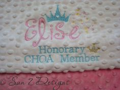 Custom designed personalized baby blankets at www.sun7designs.com