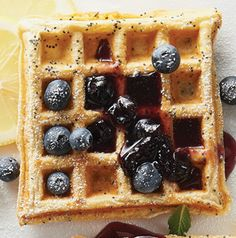 Lemon-Poppy Seed doesn't have to be stuck in just muffins.  Our Lemon-Poppy Seed Waffles give breakfast a refreshing hint of lemon in the morning.