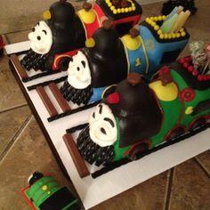 Thomas, Percy and James train cakes