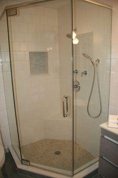 Spacious corner shower with frameless glass door, separate hand-shower, built-in - contemporary - Bathroom - Dc Metro - Anne Walker Design LLC