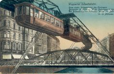 Illustration of The Wuppertal Floating Tram that inspired Walt to build the monorail #disney #imagineering