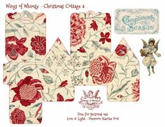 Wings of Whimsy: Vintage Christmas Village - 25 FREE printable sets of DIY Christmas Cottages & Snow Cherubs, and an assortment of matching Christmas Trees Christmas Gift Box, Christmas Paper, Christmas Projects, Christmas Time, Vintage Christmas, Christmas Ornaments, Xmas, Christmas Stuff, Holiday