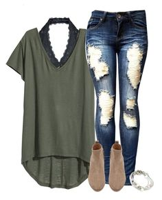 Basic tee dressed up with lace halter #fallfashion