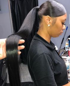 lersᴛ: ᴅᴀᴅᴏɴʙᴀʀʙ ᴅᴀᴅᴏɴʙᴀʀʙ Chalermpol - New Sites Black Ponytail Hairstyles, Hair Ponytail Styles, Sleek Ponytail, Baddie Hairstyles, Weave Hairstyles, Curly Hair Styles, Cool Hairstyles, Natural Hair Styles, Hairdos