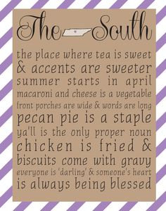 The South - Tennessee 8x10 print - Choose Your Color, Sweet Tea & Sparkles