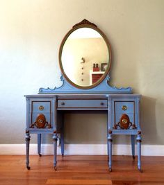 Refinished Antique Vanity with Mirror