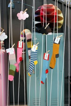 Creative way to display socks in a store.