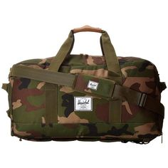 Herschel Supply Co. Outfitter (Woodland Camo/Orange Rubber) Duffel... ($140) ❤ liked on Polyvore featuring bags and luggage