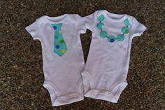 Twins Onesie Set Necklace and Tie Shirt Set by mycutiepieboutique, $25.00