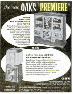 "1950s ""PREMIERE Gum and Card Vendor"" Vending Machine Proof Coins, Vending Machine, The Fool, 1950s, Deco, Cards, Pictures, Photos, Photo Illustration"