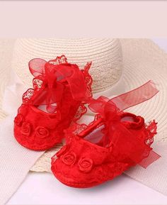 Baby Handmade crib Red lace Tulle Christening Party Christmas Wedding shoes Booties boutique